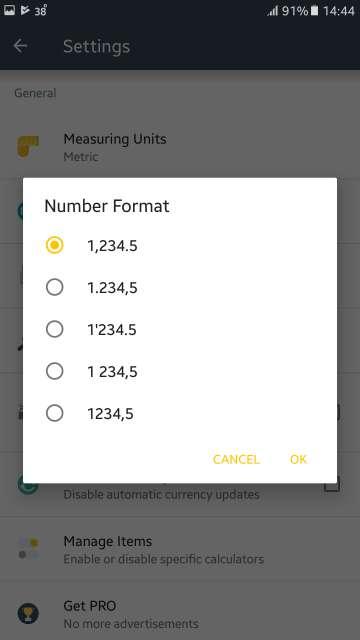 calcilator number formats