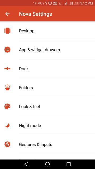 nova launcher desktop settings