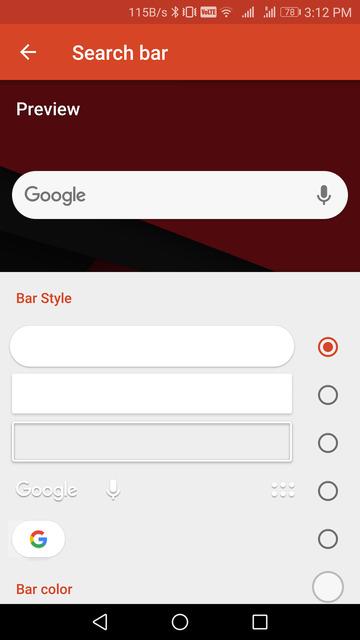 pixel 2 search bar nova launcher