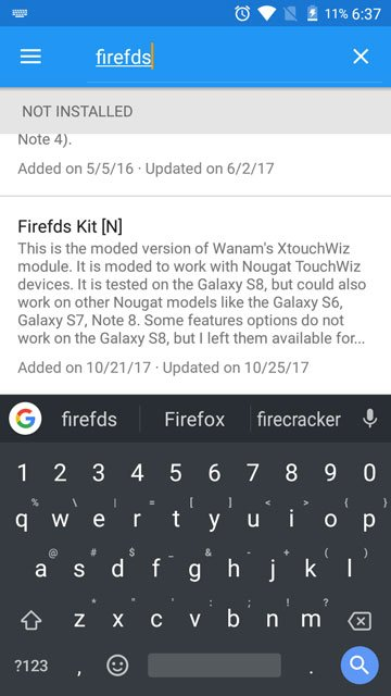 Install Firefds Kit Xposed Module For Samsung Devices Running Stock Nougat Firmware