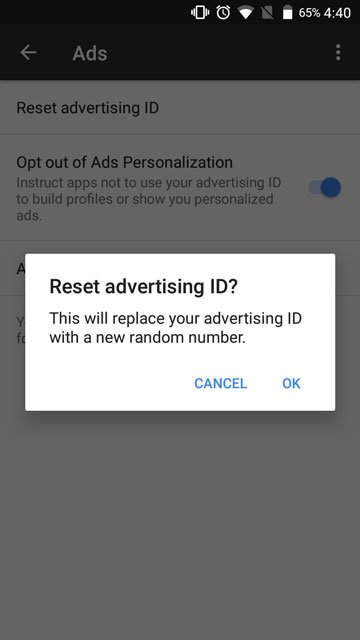 Opt out of ads personalization