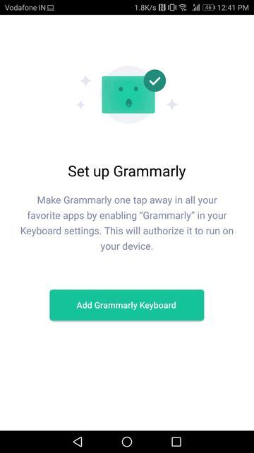 setting up grammarly