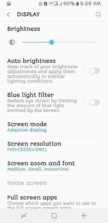samsung s8 display settings