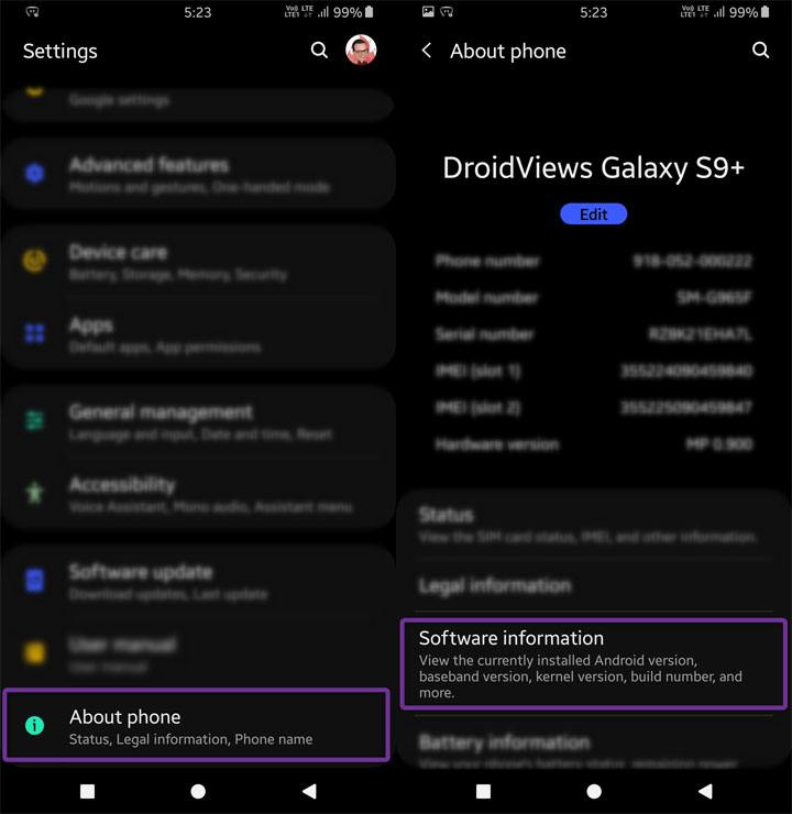 Android settings software information