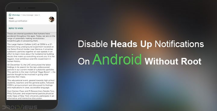 Disable Heads Up Notifications On Android Without Root