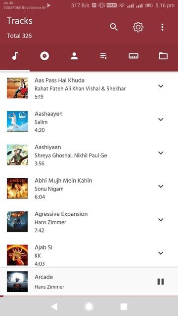 Eon Player music list