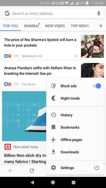 android browsers with dark mode