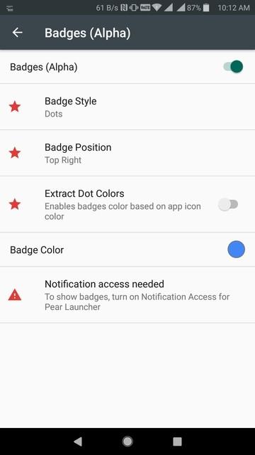 Pear Launcher notification badges