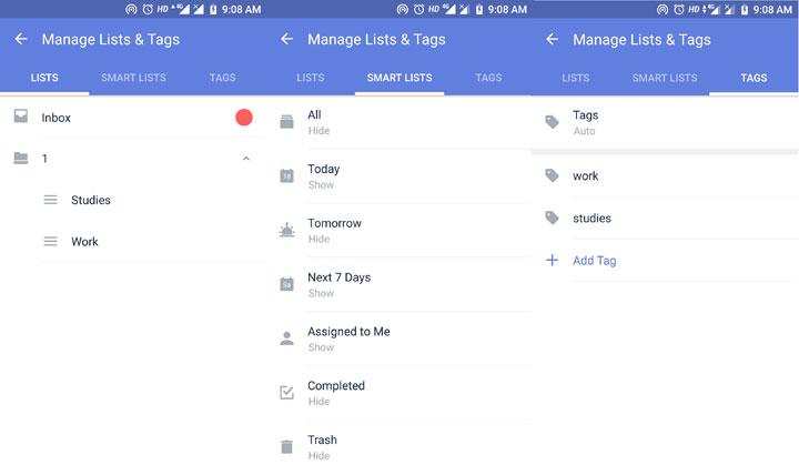 TickTick tasks list