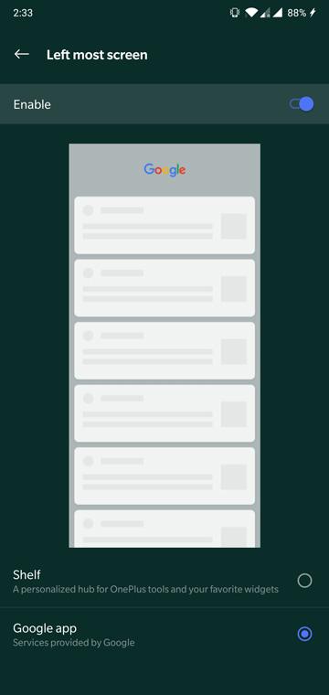 OnePlus Launcher google feed
