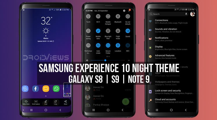 Install Samsung Experience 10 Night Theme on Galaxy S9, S8