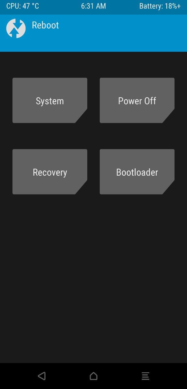 TWRP reboot option