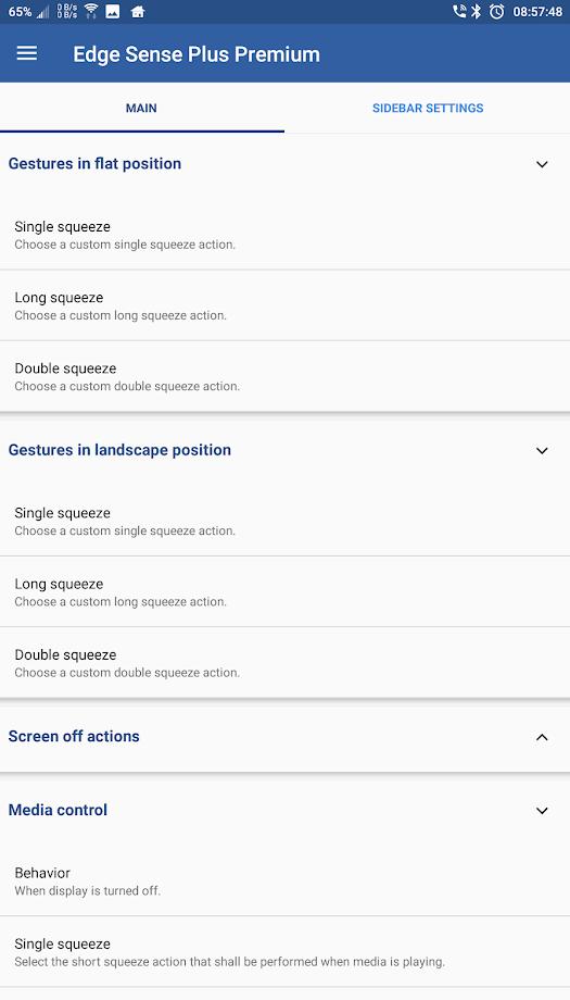 Edge Sense Plus customization options