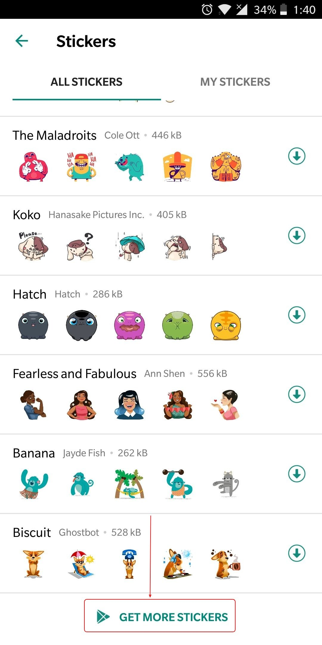 Get more Sticker packs from Google Play Store