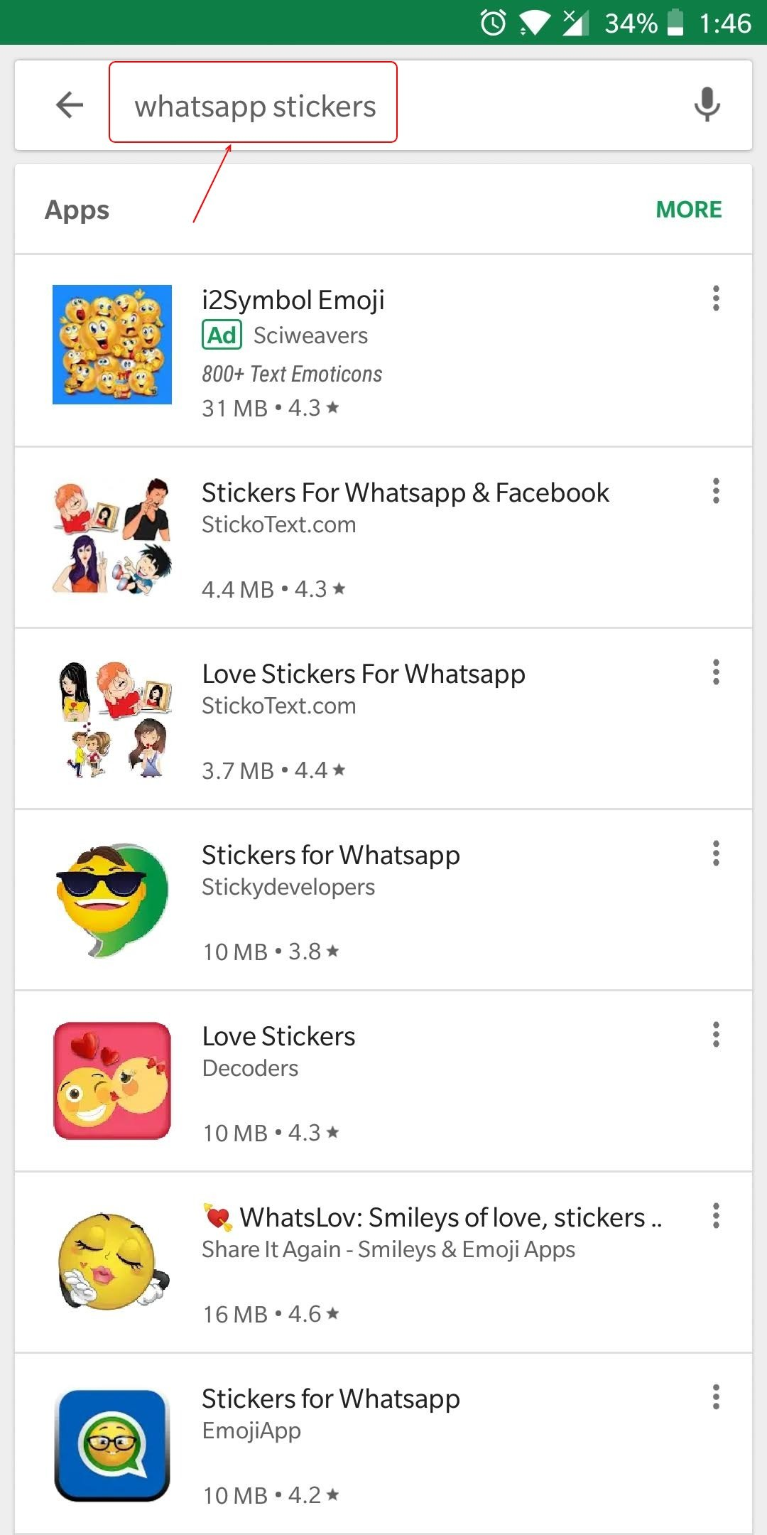 """Search """"whatsapp stickers"""" to get Sticker packs on Play Store"""