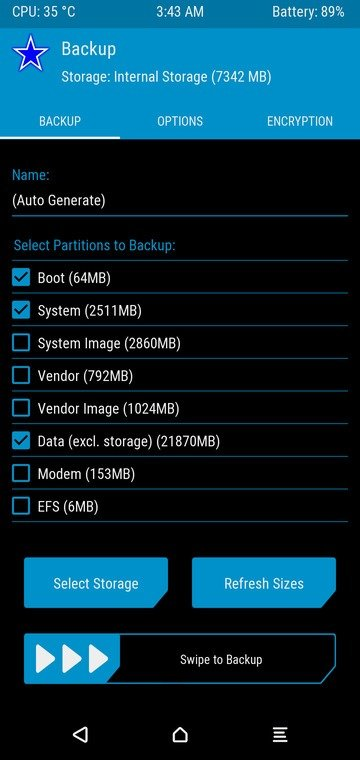 TWRP guide to create backup