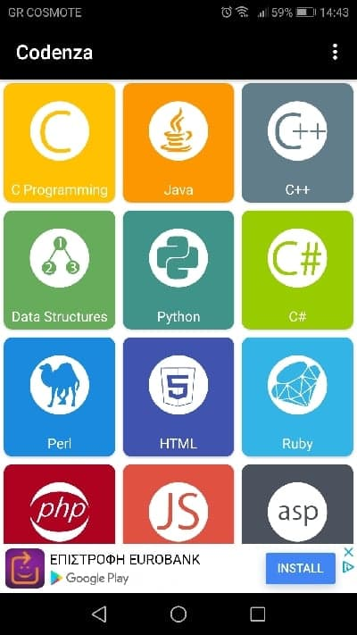 Codenza coding language options