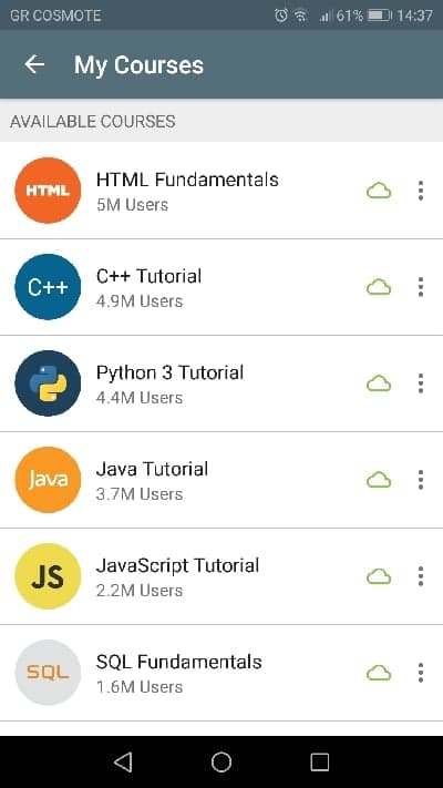 different coding languages in SoloLearn