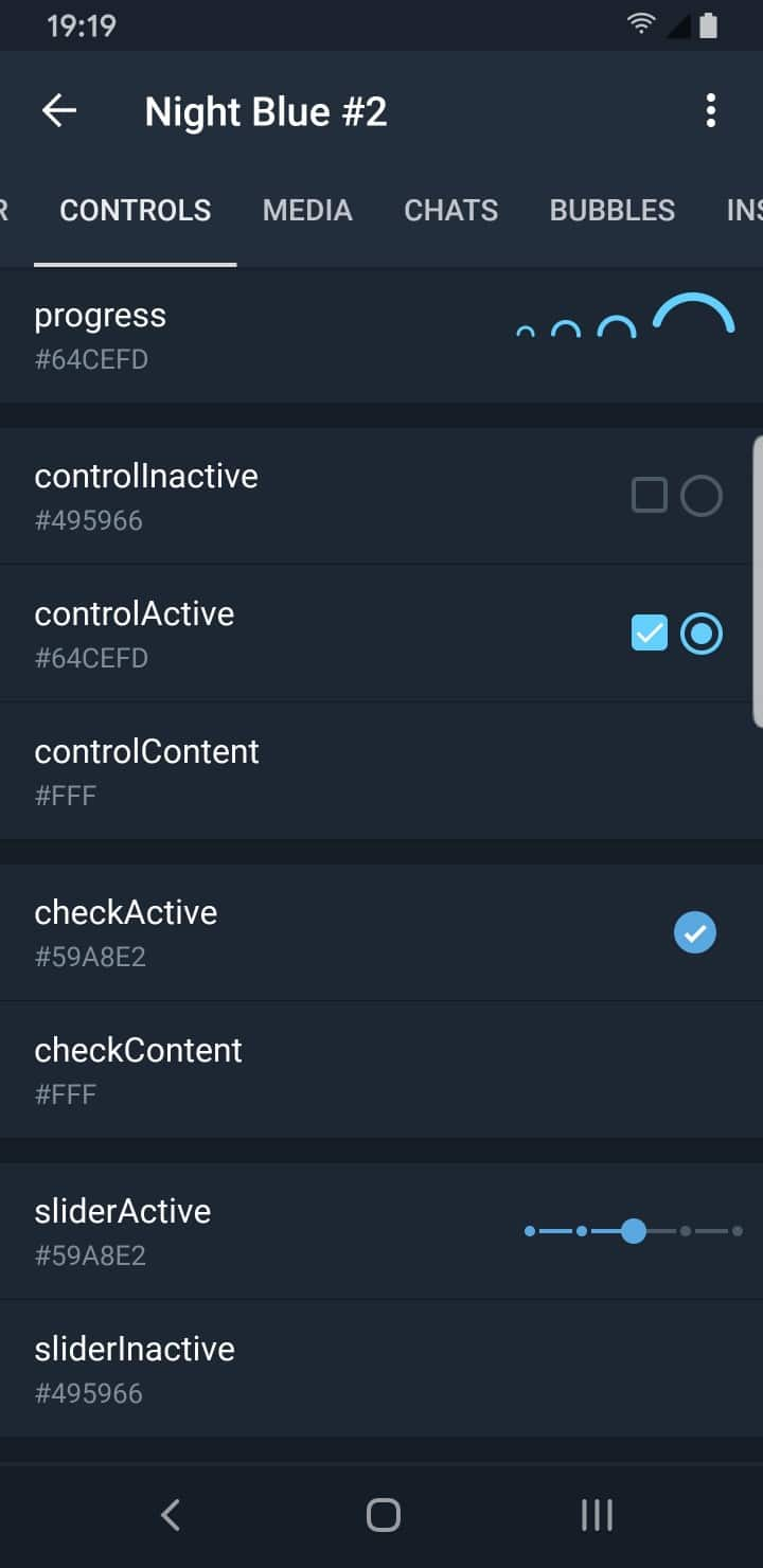 Telegram Theme Creator Controls
