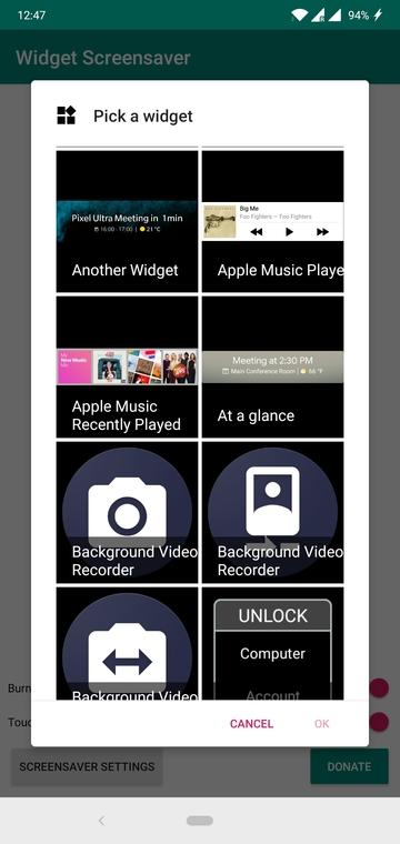 Use Widgets as Screensaver