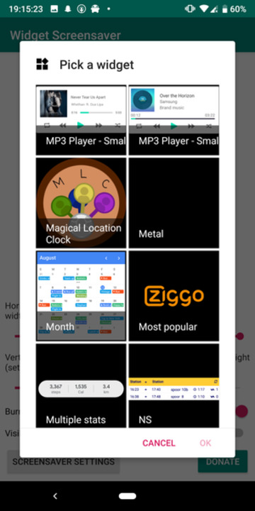 Widget Screensaver app