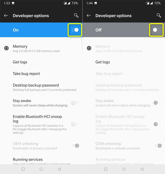 hide developer options android