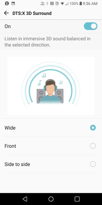 LG V30 Settings DTS:X 3D Stereo Sound