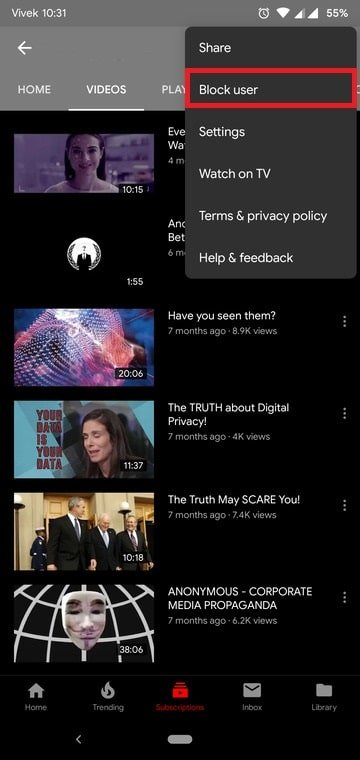 Block Videos on YouTube
