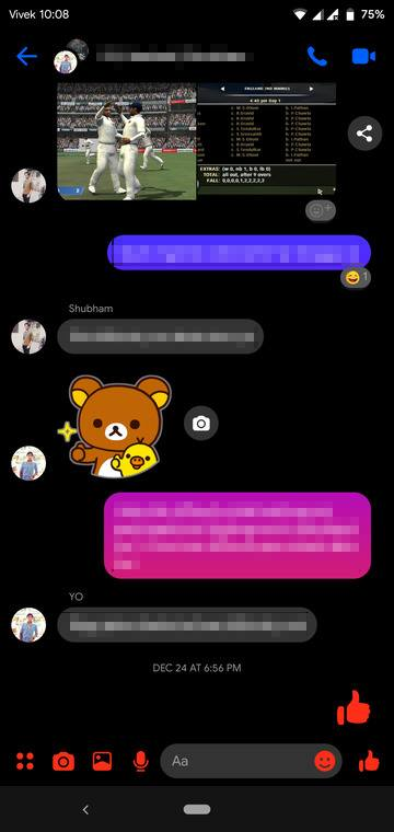Dark Mode on Facebook Messenger