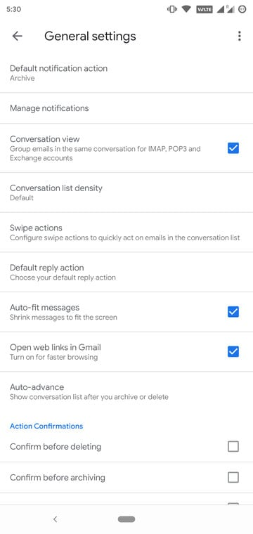 Gmail Update Settings