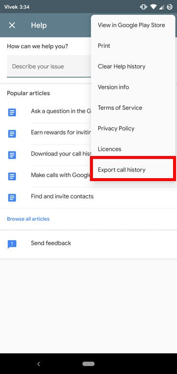 Call history download