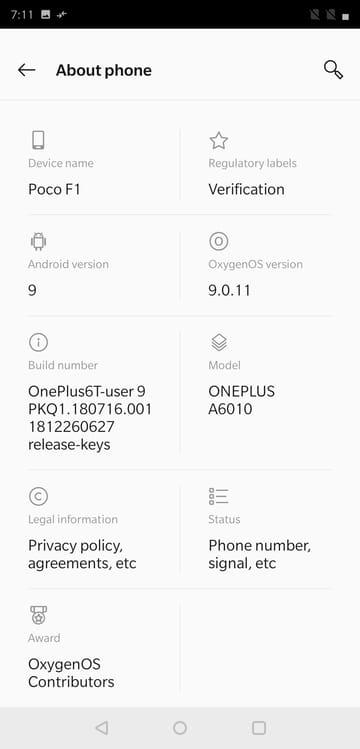 OxygenOS 9.0 on Poco F1