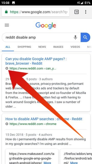 disable AMP pageson Android