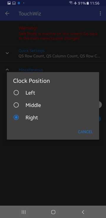 move status bar clock on samsung