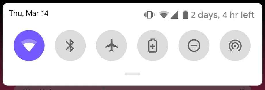Android Q quick toggle