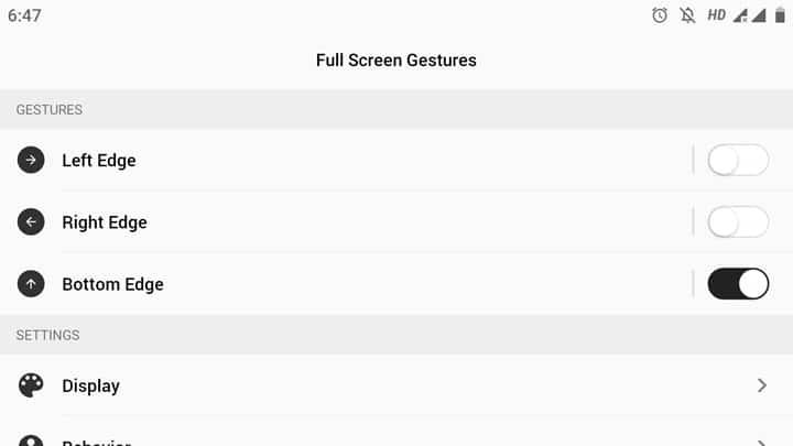 Full Screen Gestures