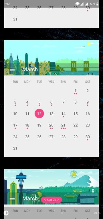 Calendar Widget: Month