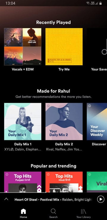 spotify recently played list