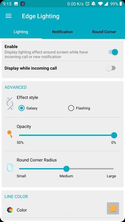 Edge lighting options
