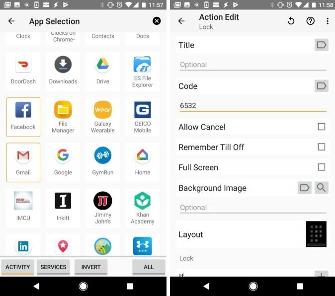 Lock specific apps on tasker