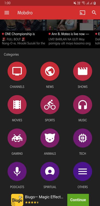 mobdro video categories
