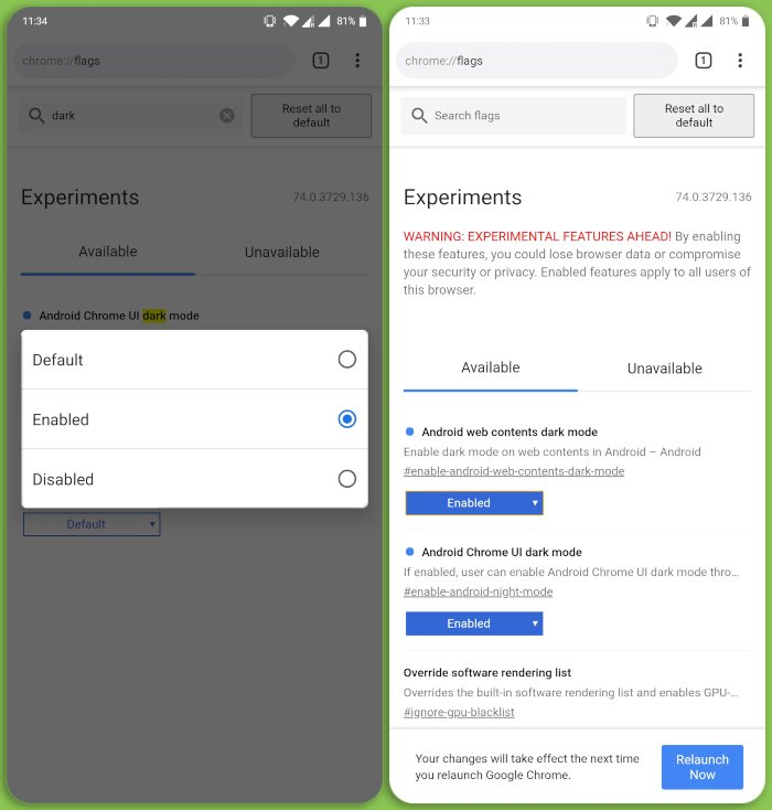 enable chrome experiments