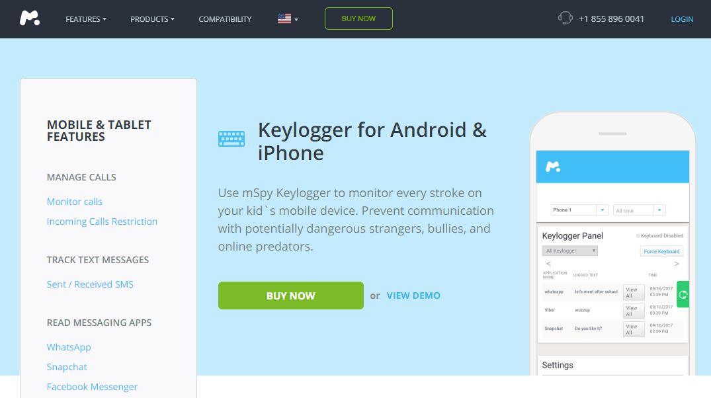 mSpy keylogger app