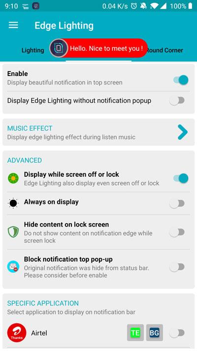 New notification on edge lighting
