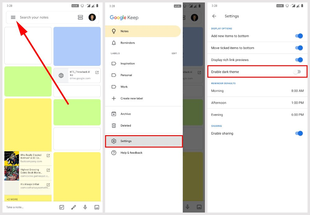 steps to enable google keep dark theme