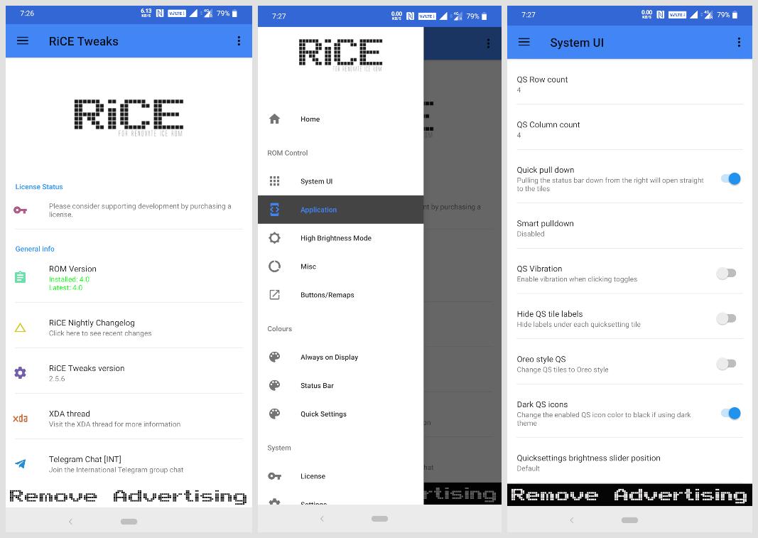 RiCE Tweaks and System UI settings