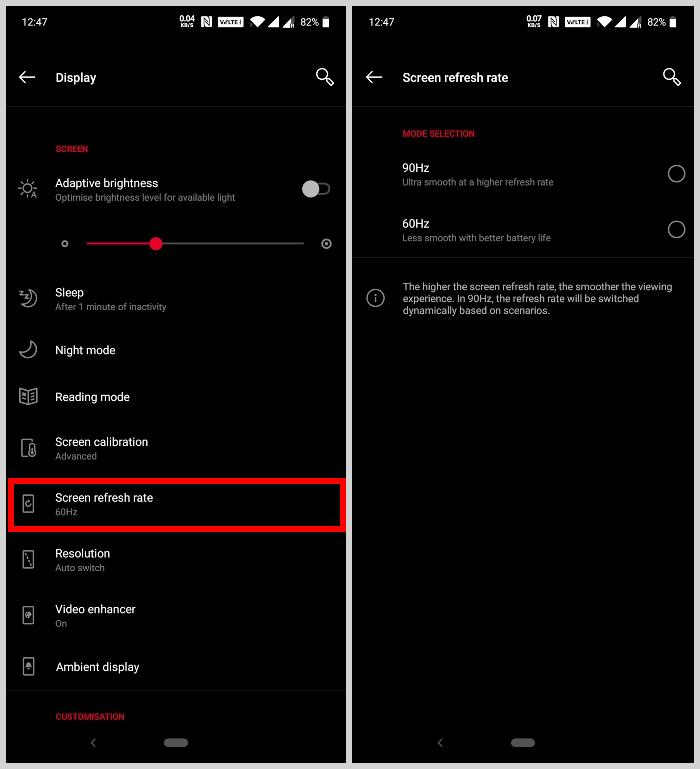 Enable 90Hz Display OnePlus 7 Pro