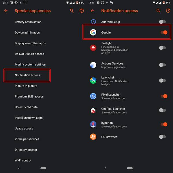 Assistant notification access