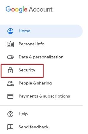 Google Account Security settings