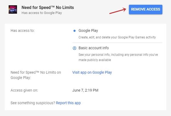 Google Remove Access Button